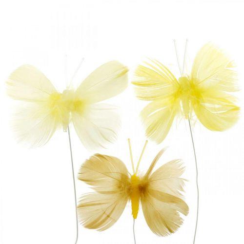 Dekorative sommerfugle på en ledning, foråret dekorationer, fjer sommerfugle i nuancer af gule 6stk