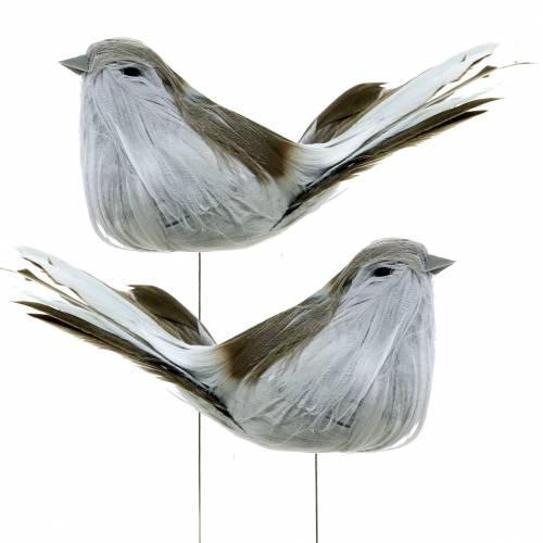 Fjerfugl på trådgrå 12 cm 4stk