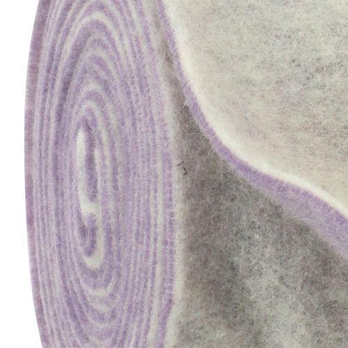 Filtbånd 15cm x 5m tofarvet lys lilla, hvid