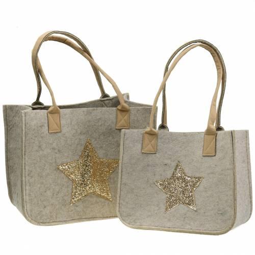 Filtpose med paljettstjerne-natur, sæt med 2