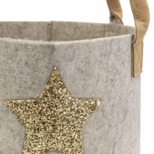 Rund filtpose med sequin-stjerne, sæt med 2