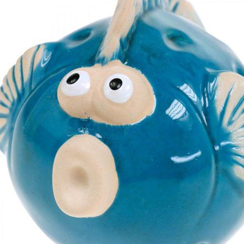 Keramisk fisk, maritim, dekorativ fisk blå L11.5 4stk