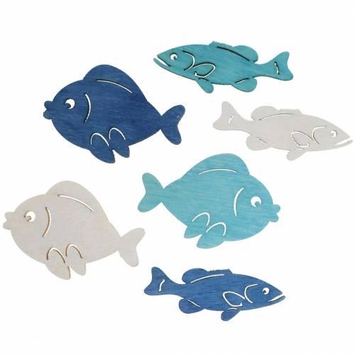 Sprededekoration fisk træ hvid, blå, lyseblå 4cm 72p