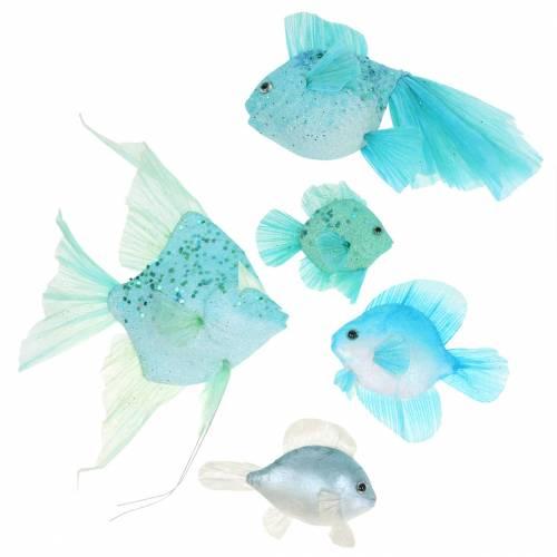 Dekorative fisk til at hænge blå turkisgrå 10-22 cm 5stk