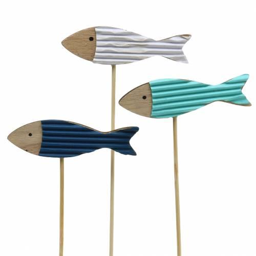 Dekorativ stik fisk træ turkisblå hvid 8cm H31cm 24p