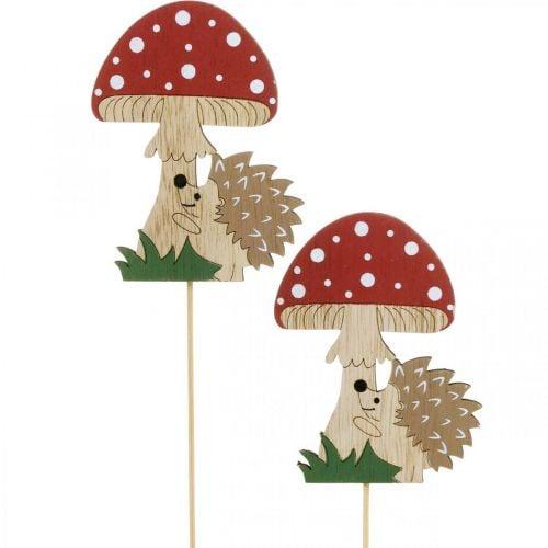 Dekorativ prop, efterårlig trædekoration, pindsvin med champignon H11cm L34cm 12stk