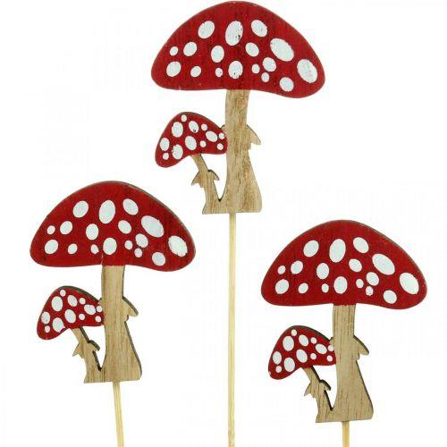 Tudsehamler lavet af træ, svampedekoration, efterår, blomsterpinde H7cm L34cm 18stk