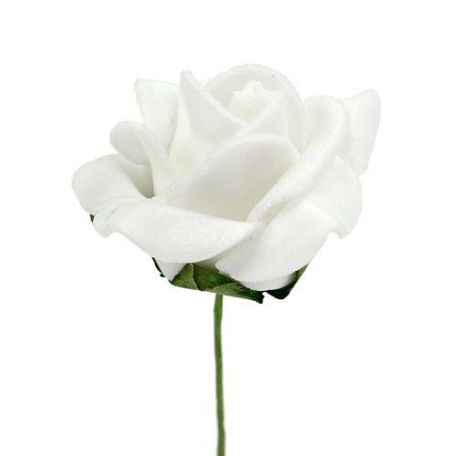 Foam Rose Ø 3,5 cm hvid 48stk