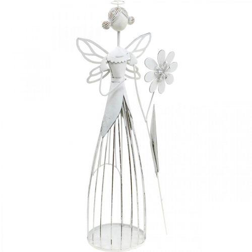 Forårsdekoration, blomsterfe, metallygte, blomsterfe med blomst 34,5 cm