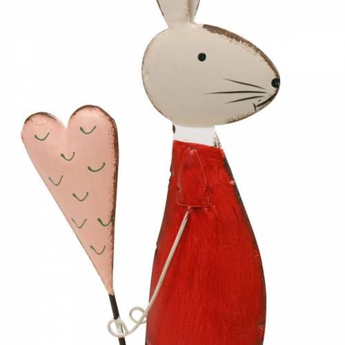 Forårsdekoration, påskehare lavet af metal, Valentinsdag, kanin med hjerte, påske 45 cm