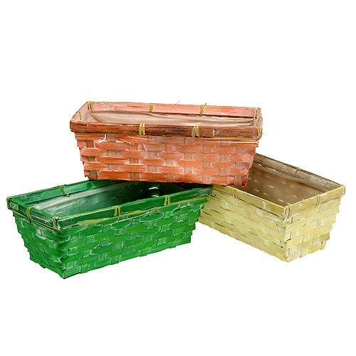 Fjederkurv 25x13x9cm orange, gul, grøn 6stk