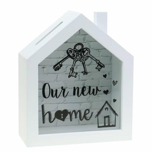 """Økonomiboks """"Vores nye hjem"""" træglas hvid 15x7cm H18cm"""