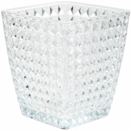 Glas lanterne terning facetteret mønster, borddekoration, vase lavet af glas, glas dekoration 2stk