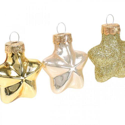 Mini juletræspynt mix glasguld, diverse perlefarver 4cm 12stk