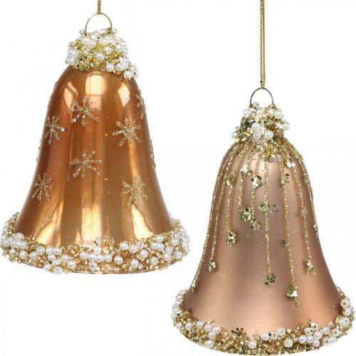Glasklokker med dekoration, juletræspynt, klokker til ophæng Ø6,5cm H8cm beige sæt med 2