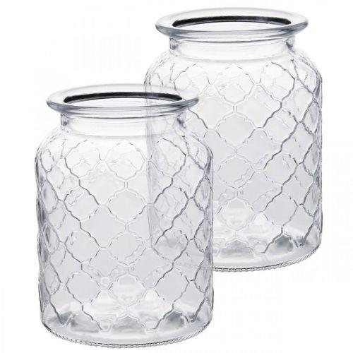Glasvase diamantmønster, lanterne, dekorativ glasburk, borddekoration 2stk