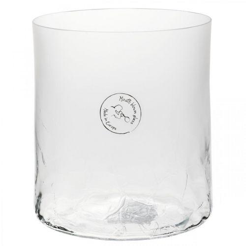 Cylindrisk glasvase Crackle klar, satineret Ø13cm H13.5cm
