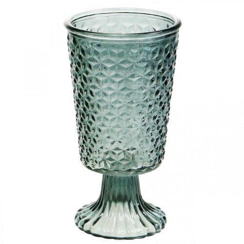 Lanterne med fod, skålglas, dekorativt glas grå Ø10cm H18,5cm