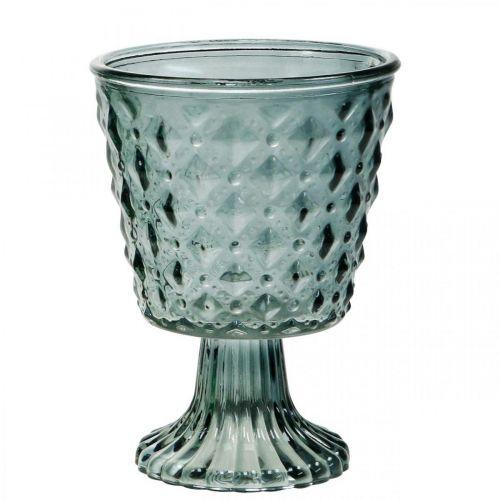 Kopglas med fod, glaslygte Ø11cm H15,5cm