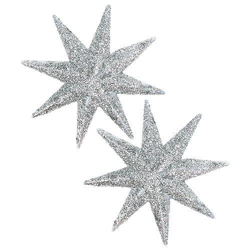 Glitter stjerne sølv Ø10cm 12stk