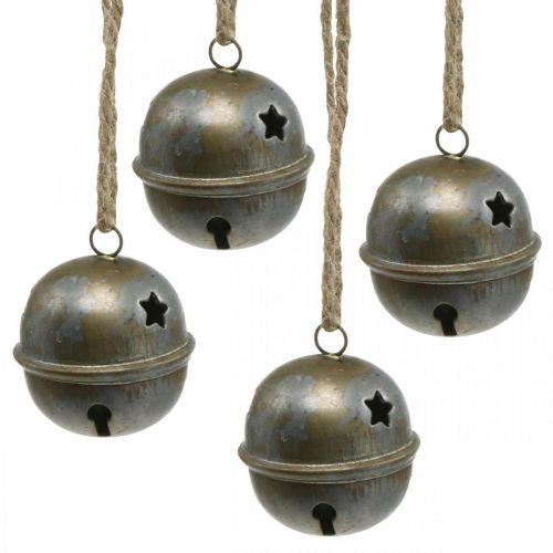 Juleklokker, klokker med stjerner, adventsdekoration metal antikt look H5.5cm Ø5cm 4stk