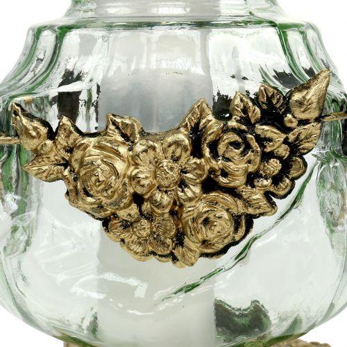 Grave let glas med rosemønster 14cm x 14cm H27cm 2stk