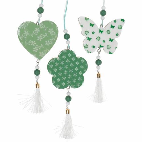 Hængende dekoration hjerte blomst sommerfugl hvid, grøn træ foråret dekoration 6stk