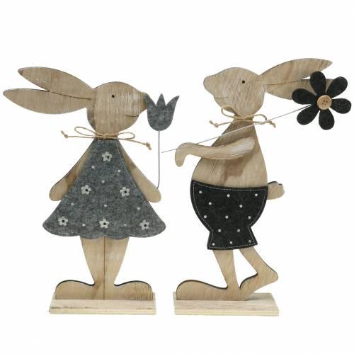 Dekorativ figur trækanin filt 30 / 31,5 cm 2stk