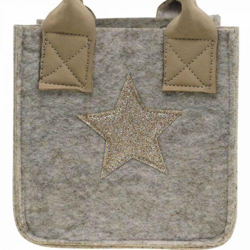 Dekorativ filtpose til planter Julepynt beige 20 / 16cm sæt med 2
