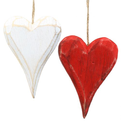 Træhjerter til hængende rød, hvid 11,5 cm 4stk
