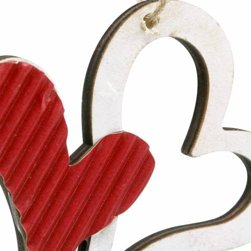 Hjertevedhæng lavet af trærød, hvid 8cm 24stk