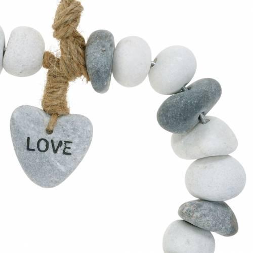 """Hjerte til at hænge """"Kærlighed"""" lavet af flodsten Natur, grå / hvid Ø18cm 1 stk"""
