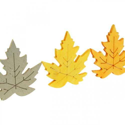 Drys dekoration efterår, ahorn blade, efterår blade gyldne, orange, gule 4cm 72p