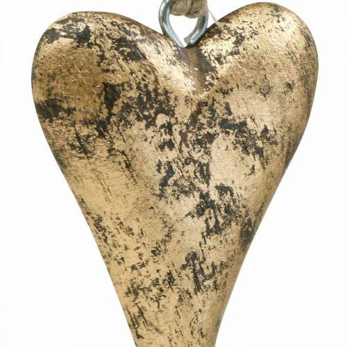 Træ hjerte guld effekt, Valentinsdag, bryllupsdekoration 10 × 7 cm