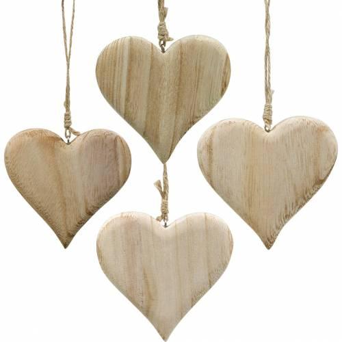 Dekorativt hjerte Valentinsdag træhjerte til at hænge natur træ dekoration 4stk