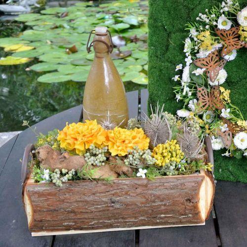 Trækasse til plantning, plantekrukke med håndtag, blomsterkasse med bark 45,5cm