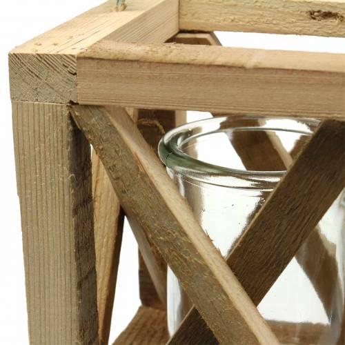 Dekorativ trælygte med naturligt glas 14x14cm H17cm
