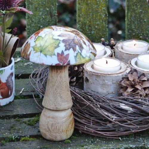 Træsvampedekoration efterårsblade hvid, farverig svampebordekoration Ø10cm H15cm