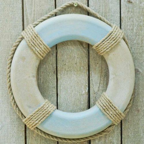 Svømningsring af træ, maritim dekoration, redningskrans Ø31cm