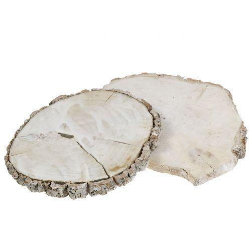 Træskive vasket hvid 13cm - 15cm 2stk