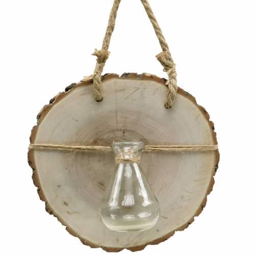 Træskive med glasvase til at hænge Ø22cm