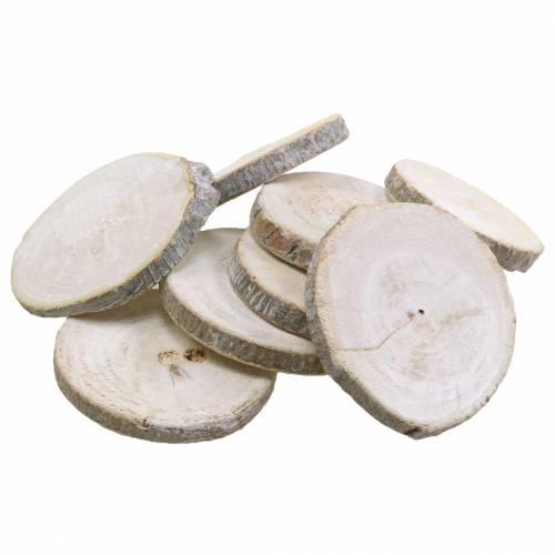 Træskiver runde hvidkalkede Ø3-4,5cm 400g i et net