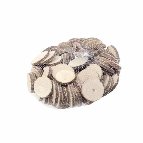 Træskiver runde naturlige Ø3,5–5cm 400g i et net
