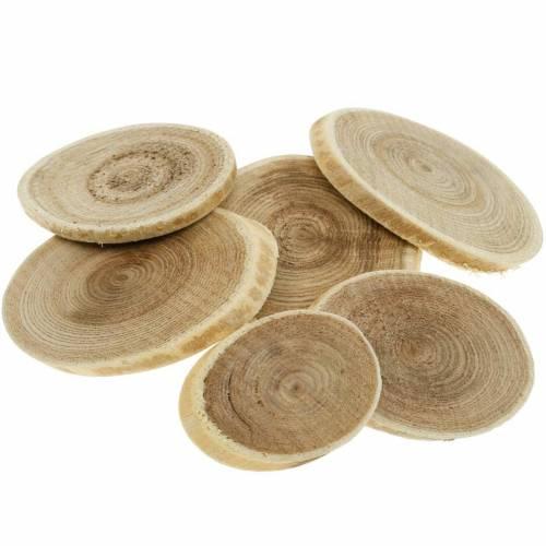 Dekorative træskiver ovale naturlige skiver Ø4-7cm trædekoration 400g