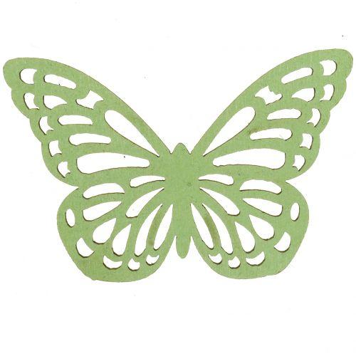 Træ sommerfuglgrøn / hvid 5cm 36p