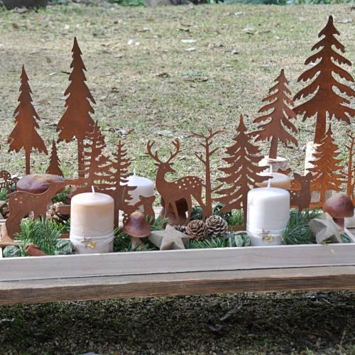 Træbakke skov med dyr 35cm x 15cm