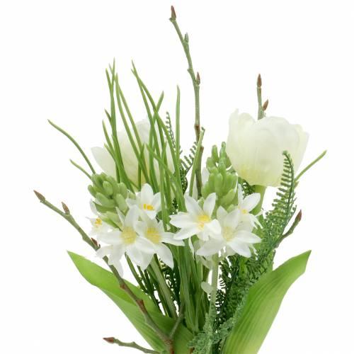 Kunstig buket med hyacinter og tulipaner 34cm