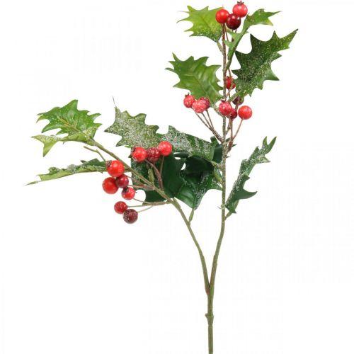 Kunstig kristtorngren, vinterbær, julepynt, kristtorn snedækket grøn, rød L63cm