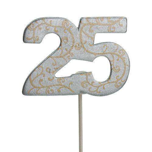 """Jubilæumsnummer """"25"""" lavet af træ, sølv 36stk"""