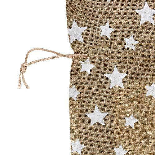 Jute sæk med stjerner 23cm x 23cm H35cm naturlig